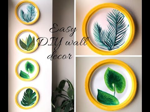 DIY paper plate wall decor technique  Quick and easy Tropical leaf painting idea for beginners
