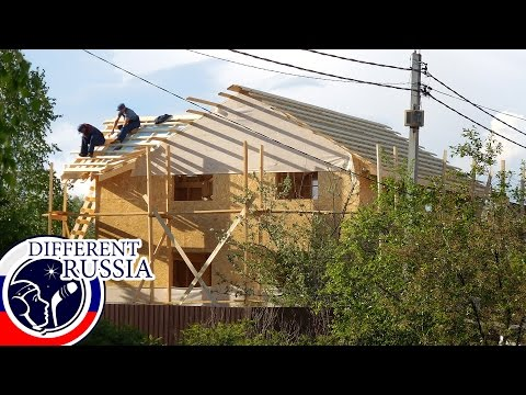 My Neighbor Builds a Big Wooden House // Russian Construction on #DifferentRussia Channel