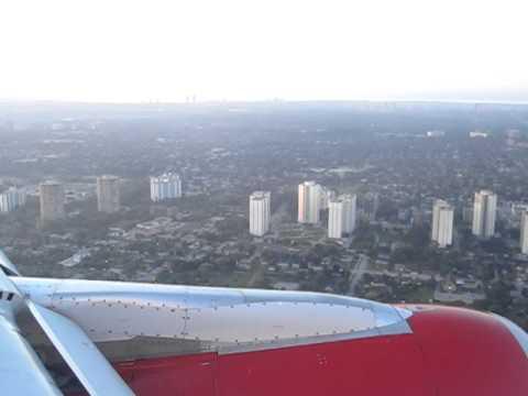 Virgin America Landing at Toronto Pearson Int'l Airport