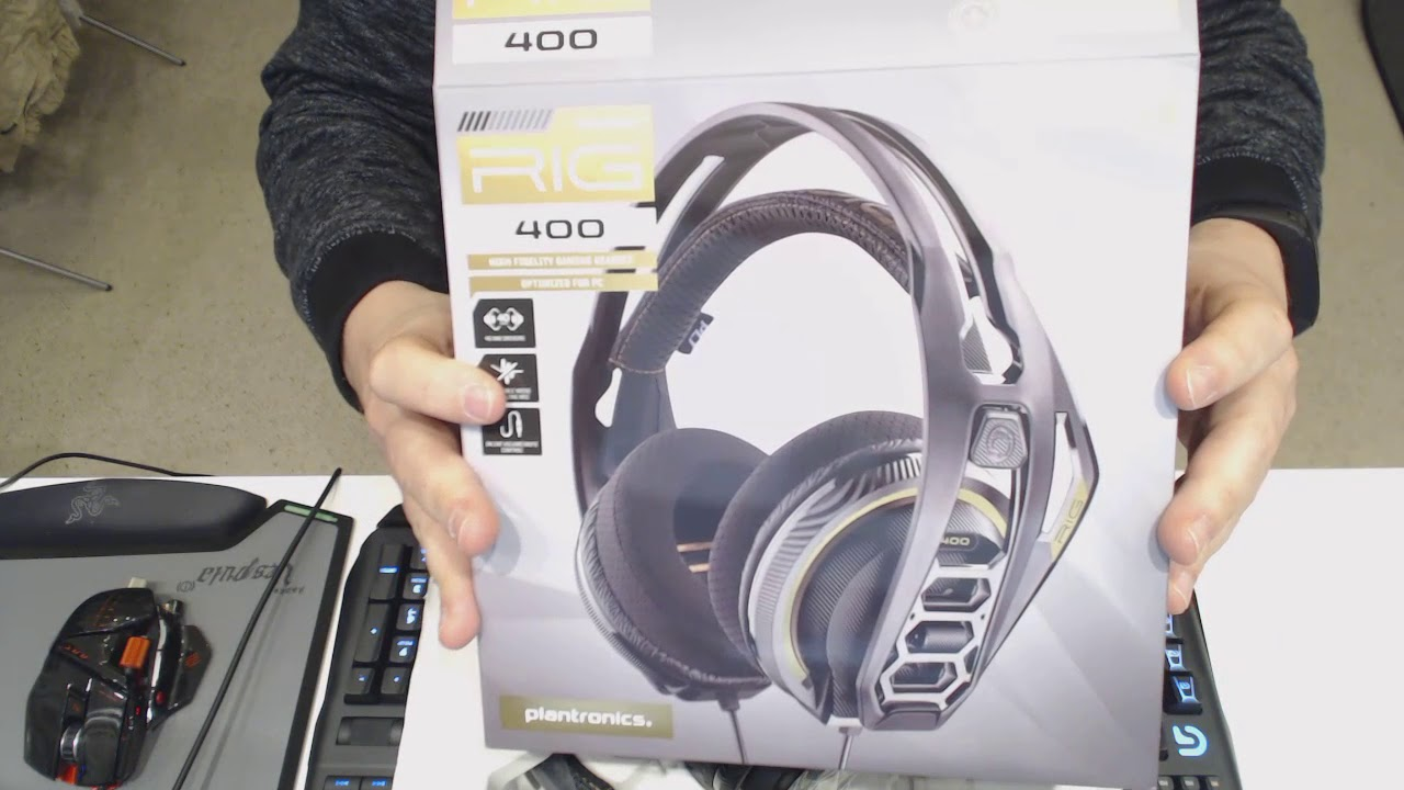 f0882120004 Plantronics RIG 400 Stereo gaming headset for PC - Unboxing - YouTube