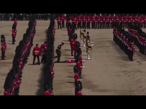 Watch Guardsman faint at Trooping the Colour ceremony during Queen's 91st birthday