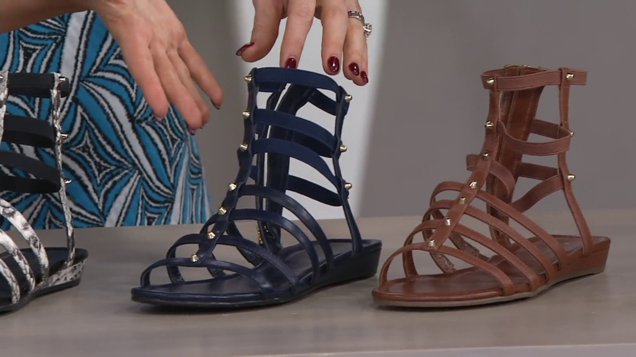 b0aa3176191 Marc Fisher Leather Gladiator Sandals w Studs - Pritty on QVC - YouTube