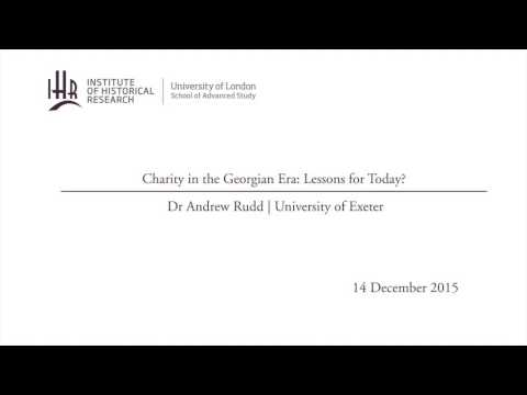 Charity in the Georgian Era: Lessons for Today?