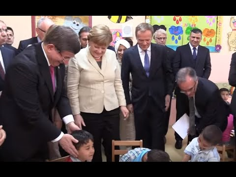 Tusk, Merkel Visit Nizip Migrant Camp, Turkey