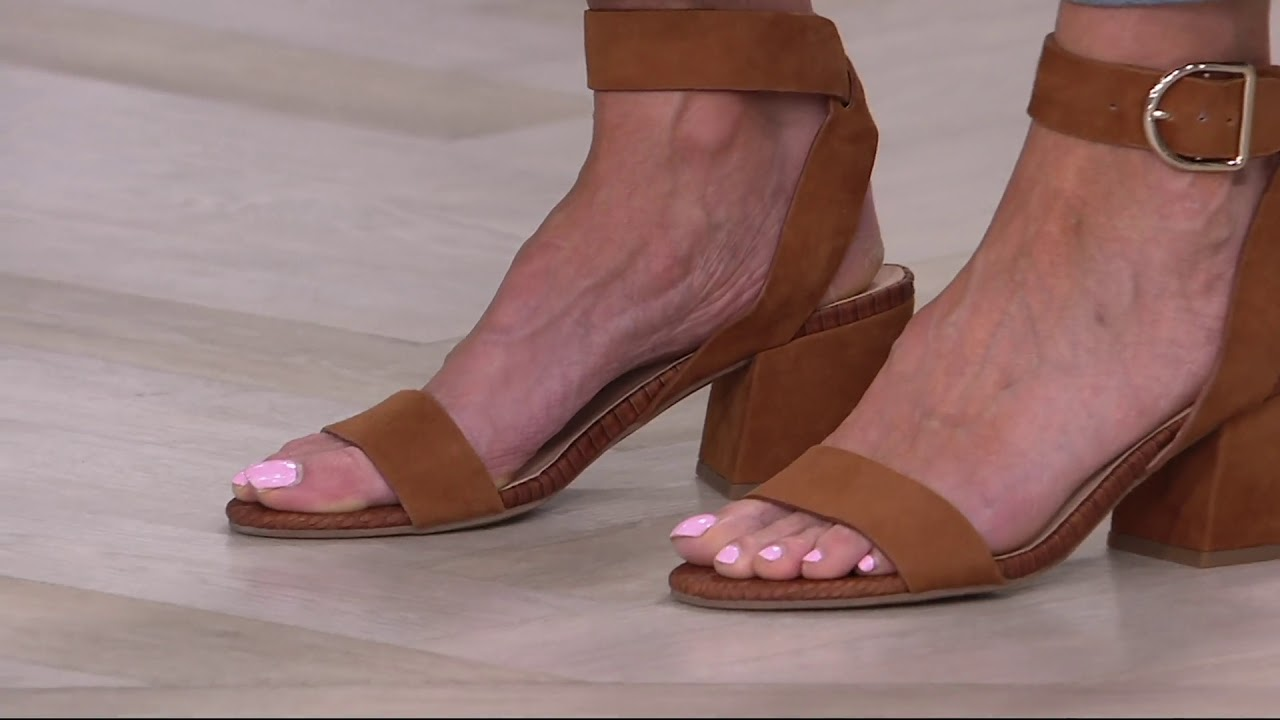 ac385f752 Franco Sarto Suede Block Heel Sandals - Marcy on QVC - YouTube
