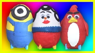 play doh surprise eggs unboxing toys for kids minions angry birds cars wind up toys
