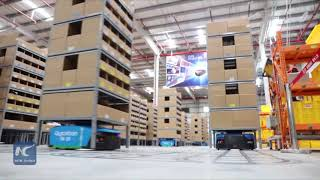 Robots deliver goods in China's largest smart warehouse