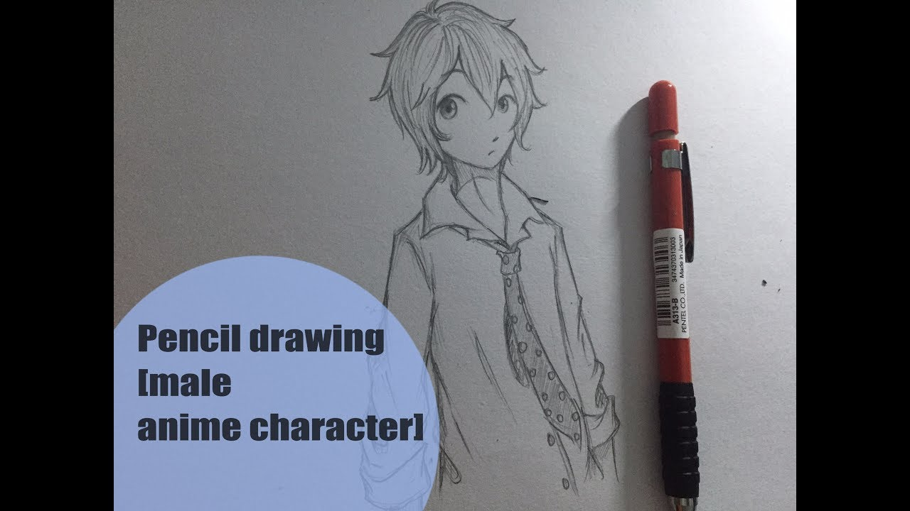 Male anime character pencil drawing