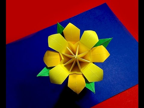 Easy Origami flower for room decoration. Ideas for Easter basket flowers.ration