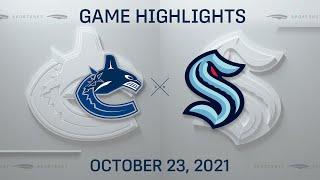NHL Highlights   Canucks vs. Kraken - Oct. 23, 2021