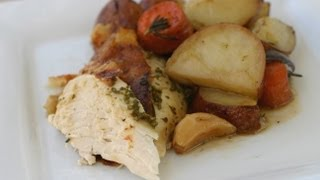 Juicy Roast Chicken Recipe With Potatoes, Wine, Onion, Rosemary By Rockin Robin