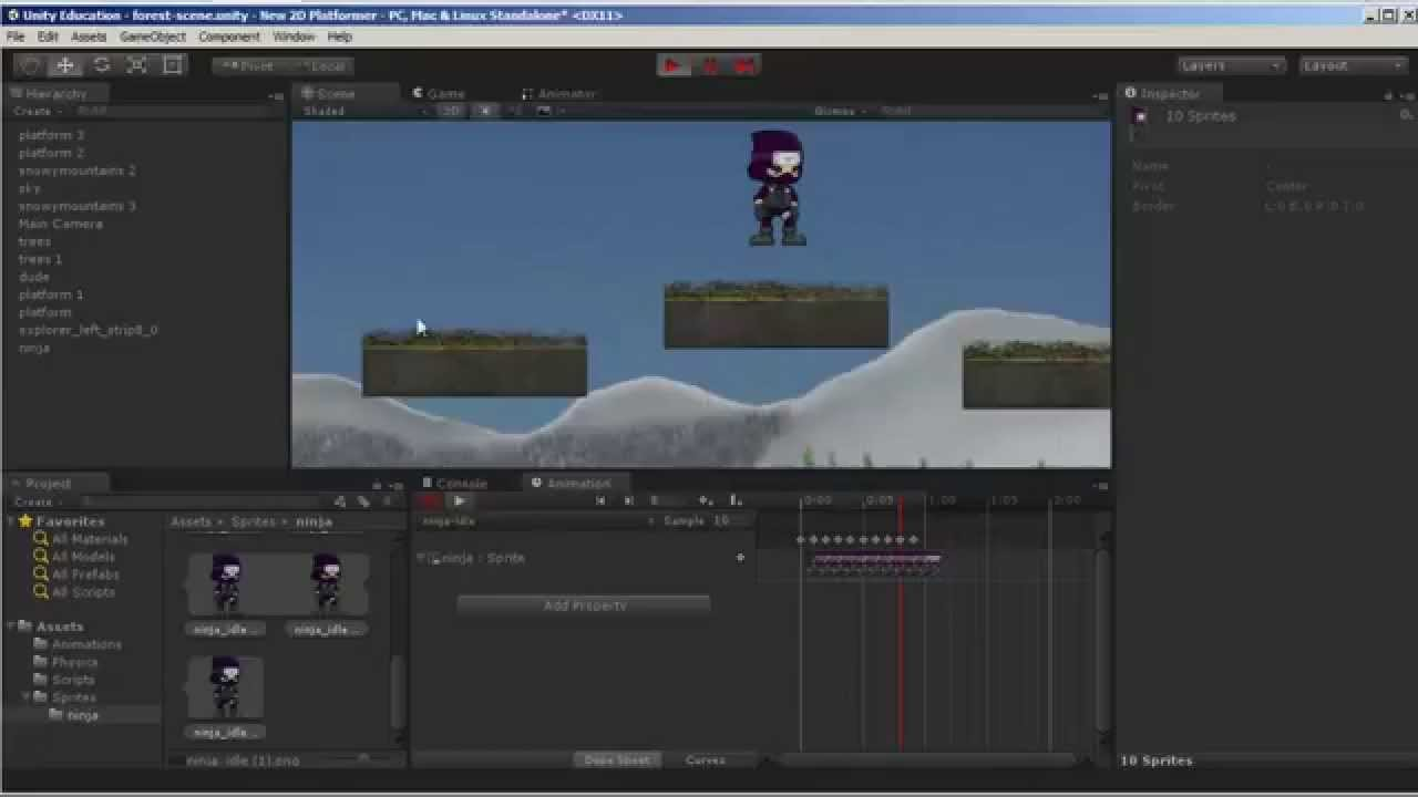 Unity 5 2d Game Design Animations Part 1 Youtube