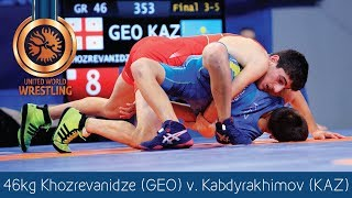 BRONZE GR - 46 kg: T. KHOZREVANIDZ (GEO) df. N. KABDYRAKHIMO (KAZ) by VPO1, 8-3