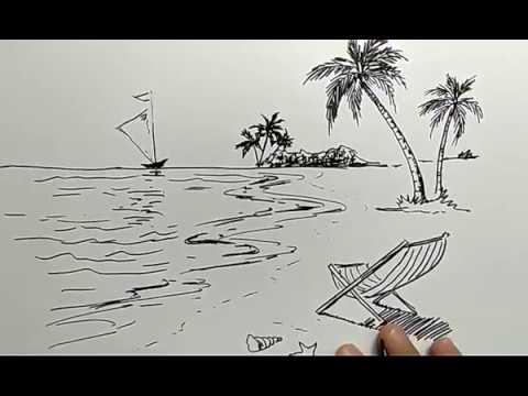 50 gambar pemandangan pantai pake pensil Terbaru