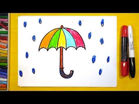 Как нарисовать Зонтик, Урок рисования для детей от 3 лет | Раскраска