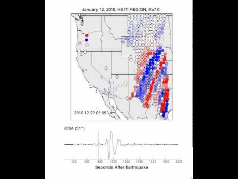 Seismic Waves From the 1/12/10 Haiti Earthquake Travel Across the USArray