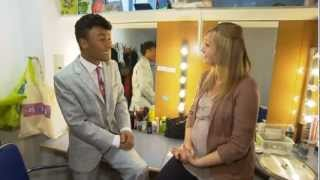 Marcus Collins backstage at Hairspray.