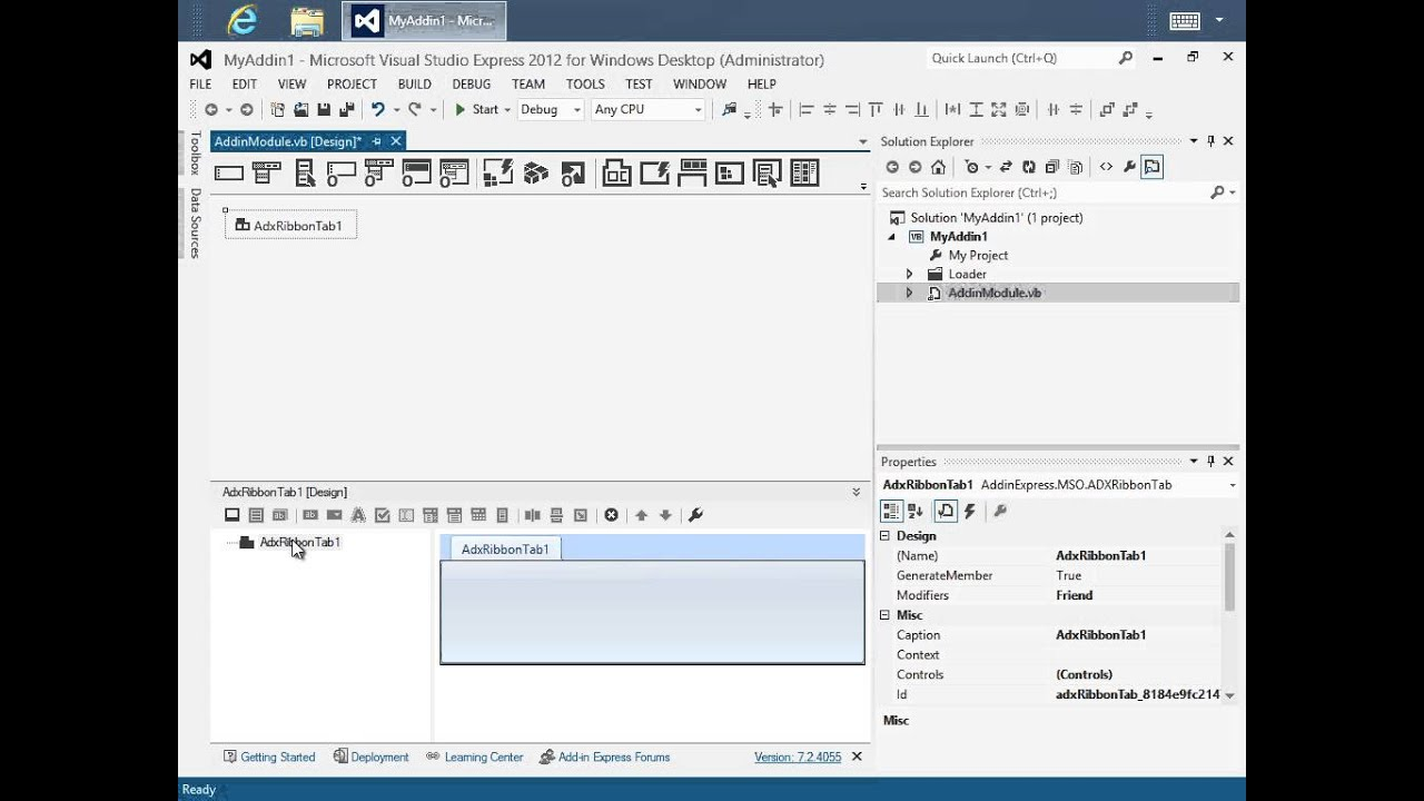 Creating Office add-in / plug-in in Visual Studio 2012 Express (C# ...