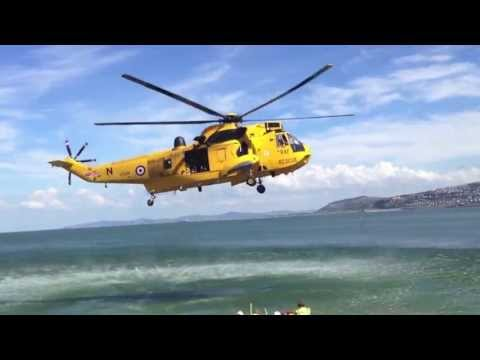 Colwyn Bay Dramatic Helicopter Rescue- at Rhos-on-Sea  25-07-2013