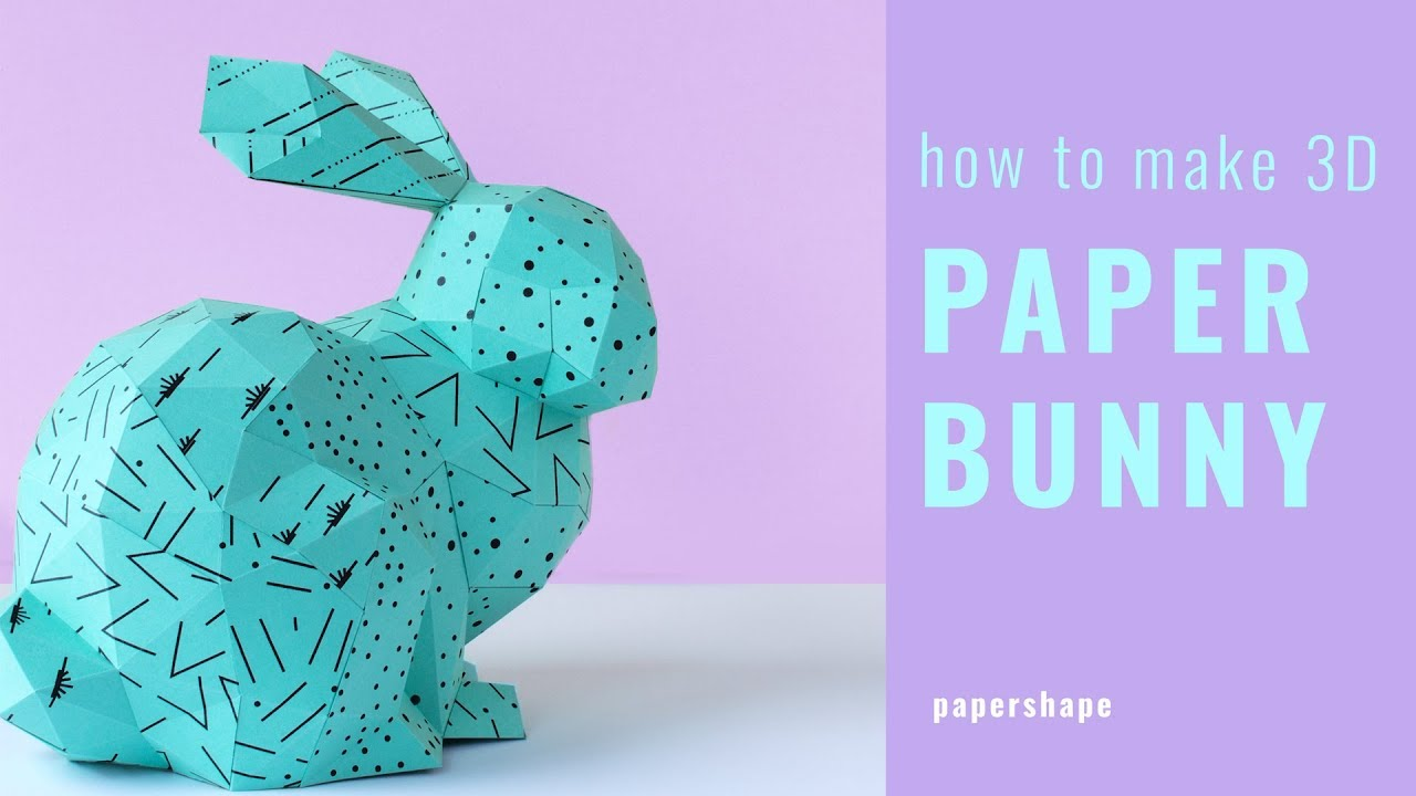 how to make a 3d paper bunny for easter with free template youtube