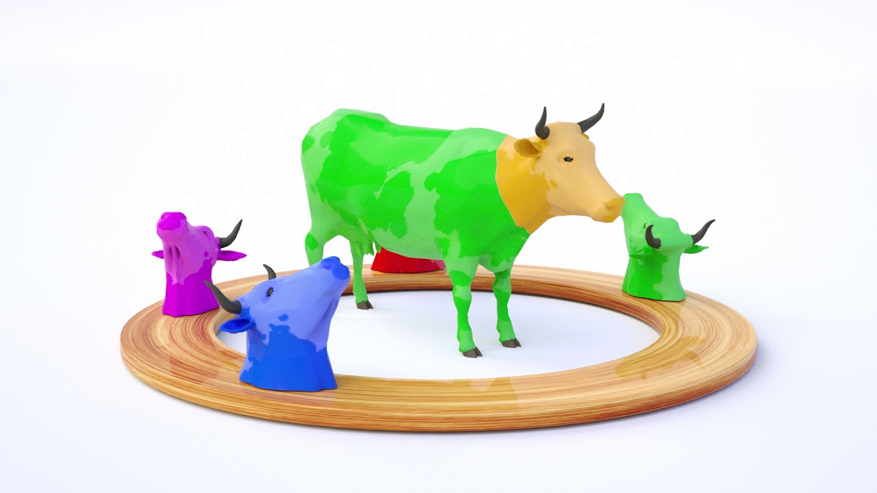 Learn Colors with Cow Animal for kids
