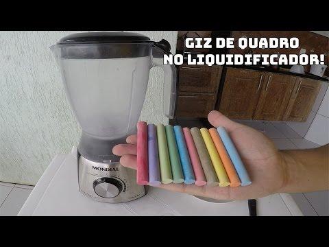 COLOQUEI GIZ DE QUADRO ESCOLAR NO LIQUIDIFICADOR E OLHA O RESULTADO!