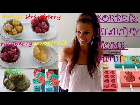Fast Healthy Homemade SORBETS: Raspberry, Strawberry, Mango, Kiwi, Grapefruit