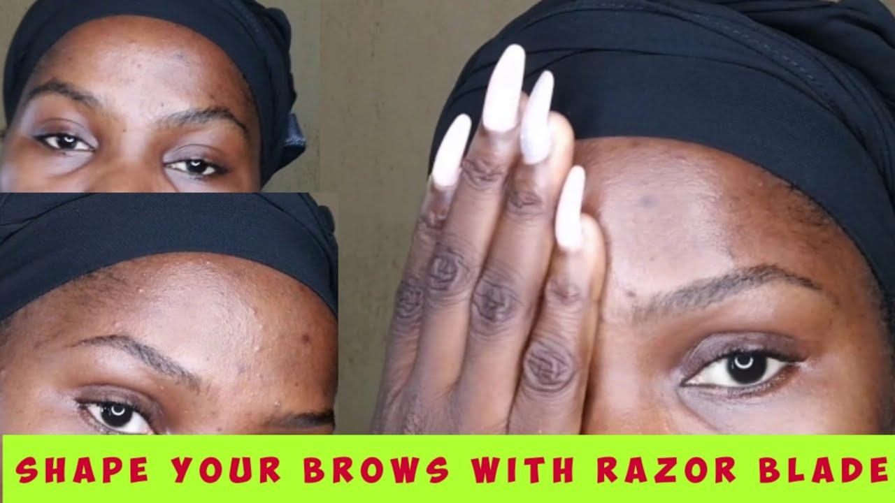 HOW TO CARVE/SHAPE EYEBROW: RAZOR BLADE METHOD - YouTube