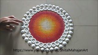 Big rangoli design using comb  Diwali special rangoli festival rangoli by Shital Mahajan