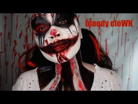 BLOODY CLOWN HALLOWEEN MAKEUP TUTORIAL 2017