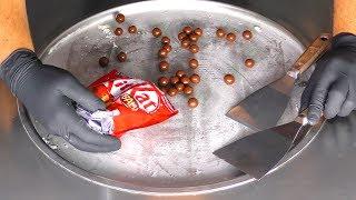 ASMR - Ice Cream Rolls with KitKat Chocolate Cookie Balls - oddly satisfying 4k Video | mukbang Food