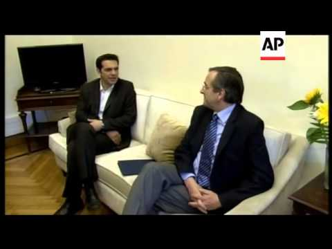 Conservative leader Antonis Samaras meets Radical Left Coalition leader Alexis Tsipras