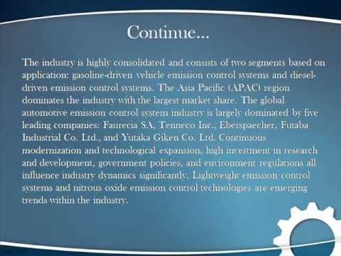 Bharat Book Presents : Global Automotive Emission Control System Industry 2013 2018