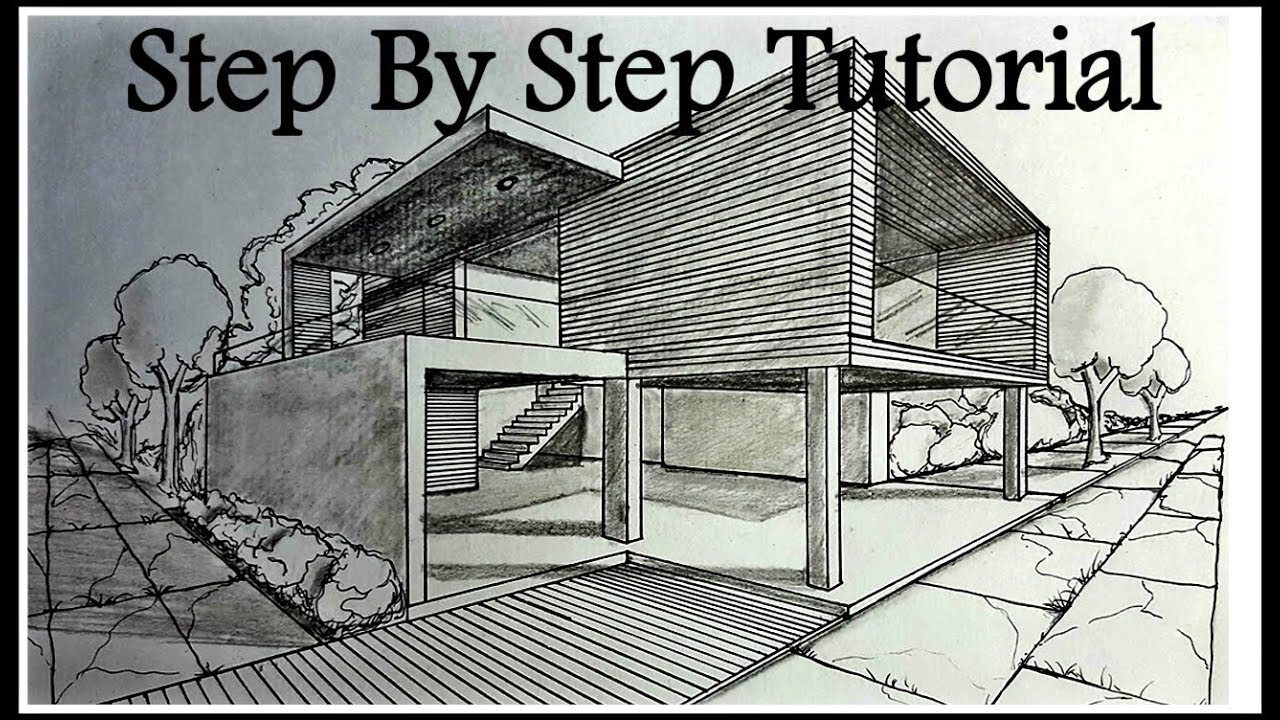 How to draw a house in two points perspective step by for How to draw a two story house step by step