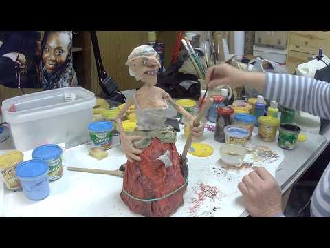 How to make a halloween paper mache witch - part 2.