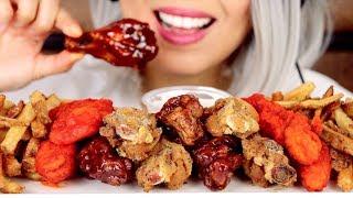 ASMR Eating Fried Chicken Wings, Chicken Tenders | Wingstop *No Talking