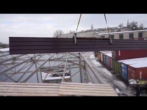 Монтаж сэндвич-панелей крыши склада