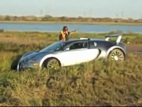 Bugatti driving into water