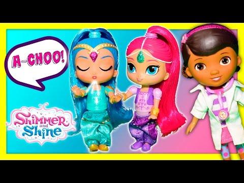 SHIMMER & SHINE + DOC MCSTUFFINS Shine Sneeze Surprise Video with Zootopia + Minnie Mouse + Elsa