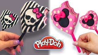 Dolls Food . Monster High Black Ice Cream. Play Doh for Kids and Beginners. Valentine's Day DIY