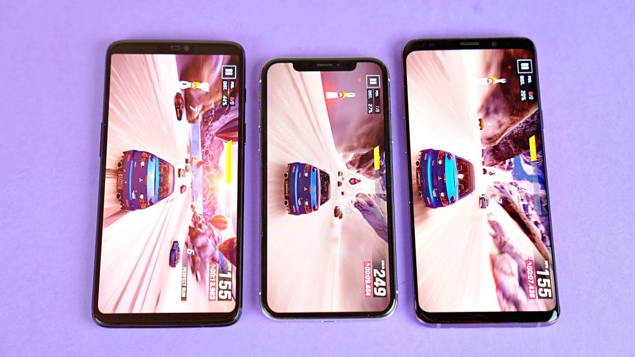 Asphalt 9 Legends Samsung Galaxy S9+ vs iPhone X vs OnePlus 6 Gaming  Comparison! - YouTube