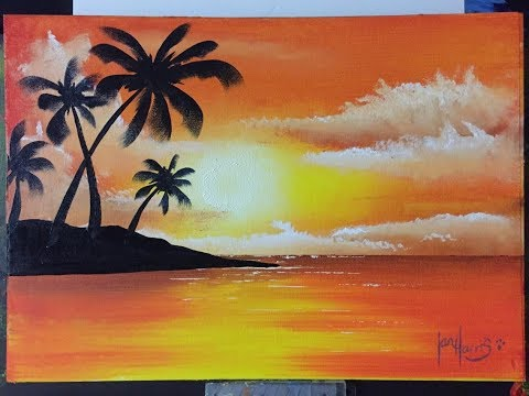 "How to paint easy palms with a sunset ""Palm Island"""
