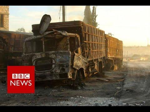 Video 'shows aid convoy attack near Aleppo' - BBC News
