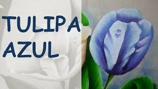 Tulipa Azul – Pintura em tecido – Arte com Marcos Pedro