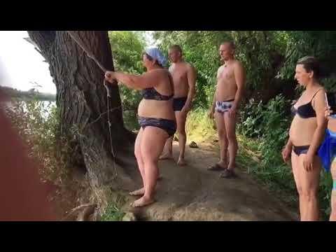 Женщина в теле решила прыгнуть с тарзанки
