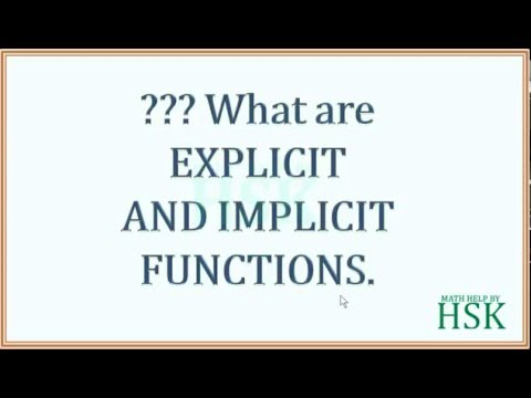 what are explicit and implicit functions