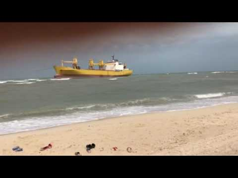 Ship came shore in heavy wind in Sharjah, UAE 10/2/2017