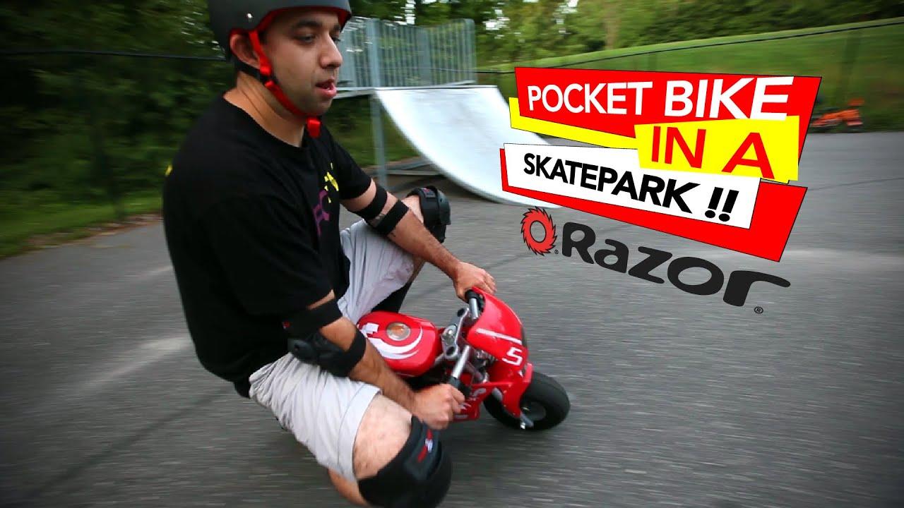 Riding A Razor Pocket Bike In The Skatepark Youtube