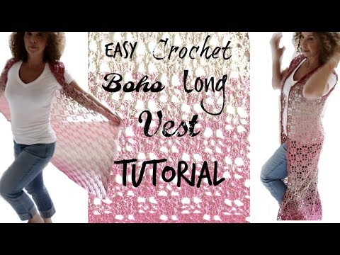 Boho Ombre Long vest Easy Tutorial