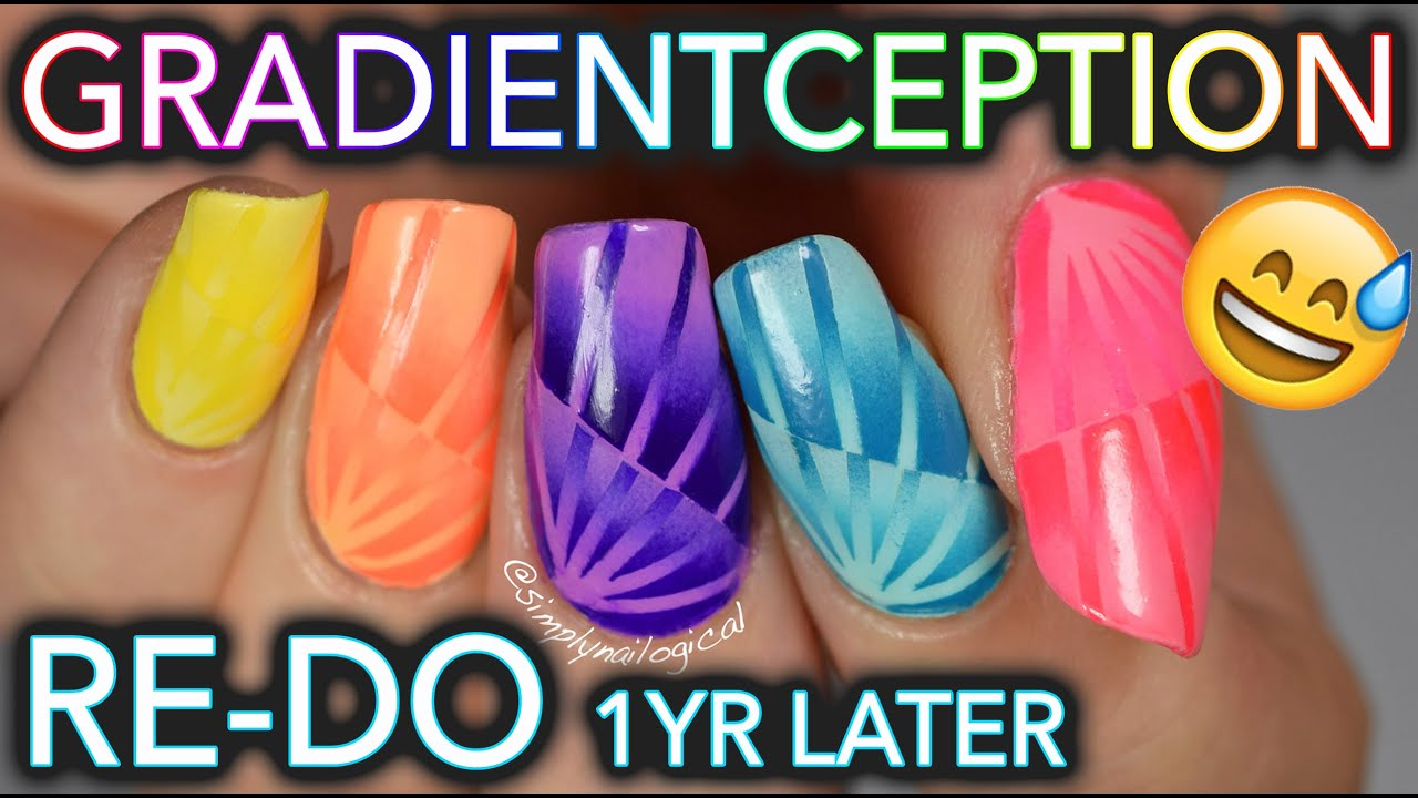 Most Complicated Gradient Nails Ever Old Tutorial Re Do Youtube